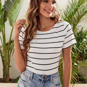 Striped tee shirt bodysuit short sleeve ribbed